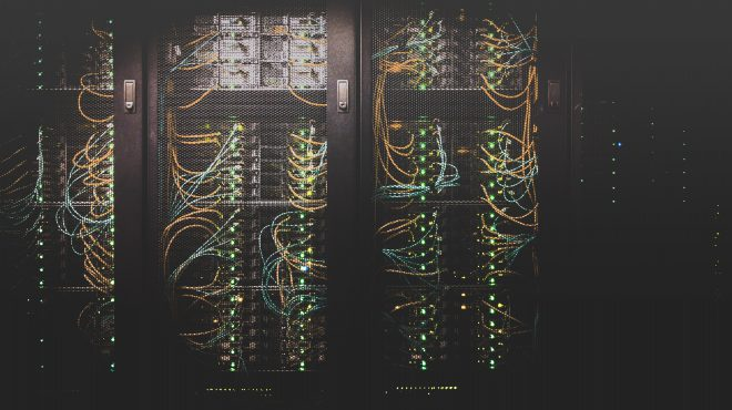 Server farm with wires and cables