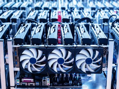 Crytocurrency mining farm showing malware cyber attacks on cloud servers